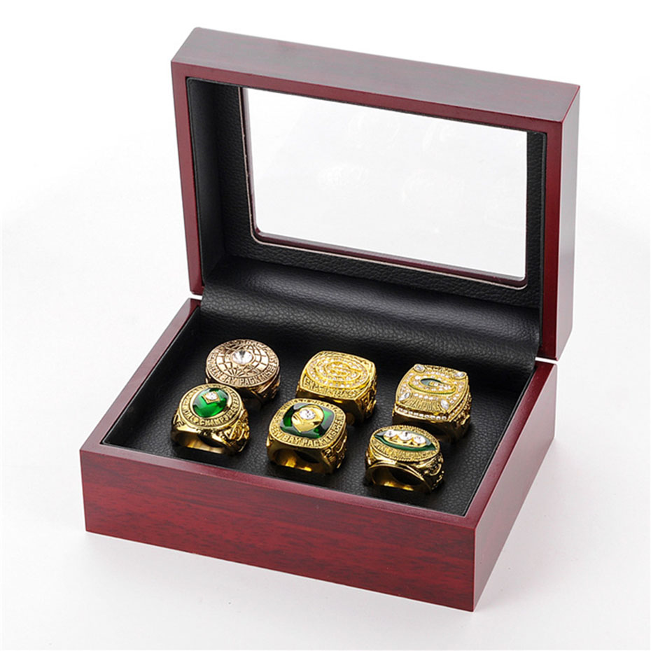 6 Pcs/Set Green Bay Packers Football World Champions Rings 6 Years Suit Alloy Rings Souvenir for Football Fans Bijouterie SP1389 кепка printio green bay packers