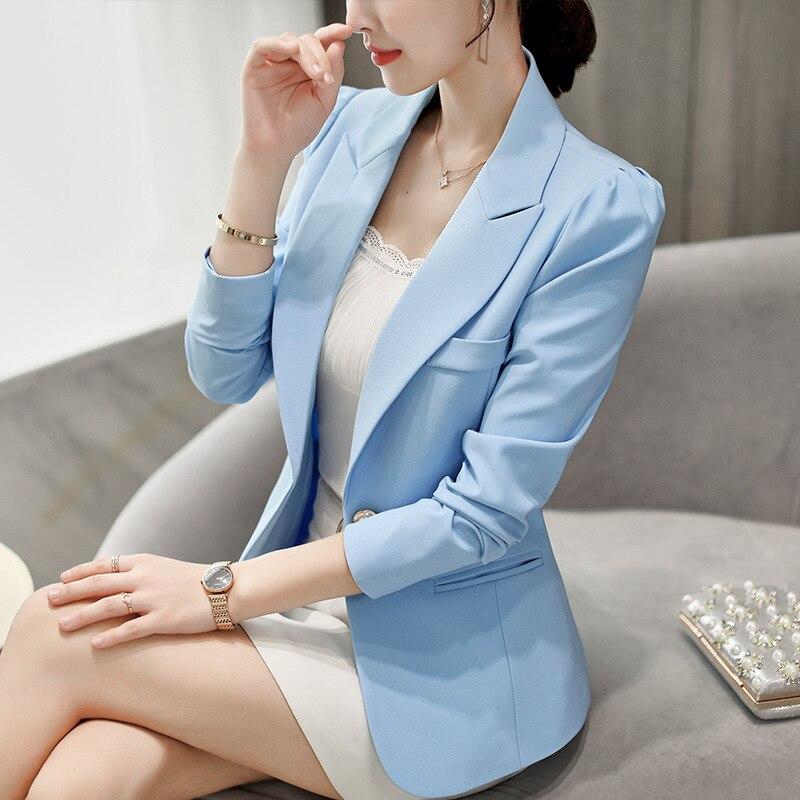 High Quality Spring Autumn Women's Blazer Elegant Fashion Office Lady Blazers Coat Suits Female Single Button Jacket Suit Tops