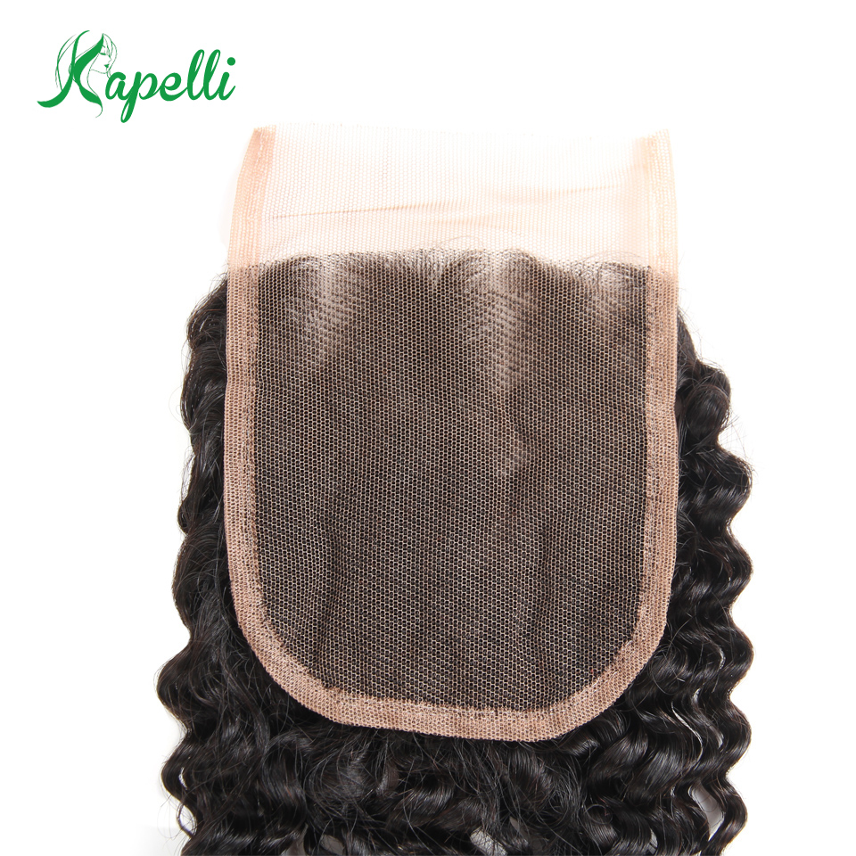 Kapelli Hair Malaysian Curly Lace Closure 4*4 Free Part Bleached Knots Non-Remy 100% Human Hair Natural Black Color Can Be Dyed