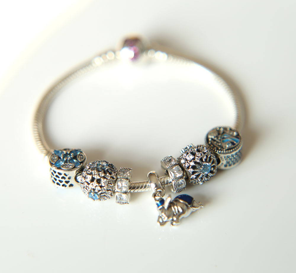 US $58 99  2017 summer european blue color dangle flying elephant original  charm beaded diy meaning 925 silver wedding bracelet-in Bangles from