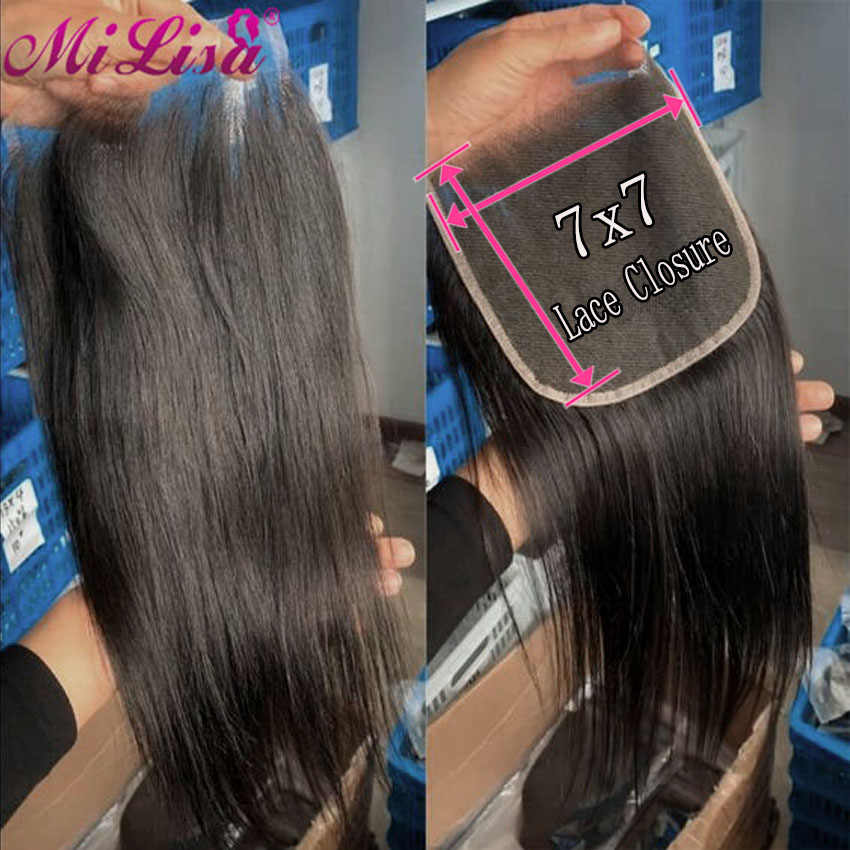Straight 7x7 Lace Closure Human Hair Closure With Baby Hair 6-22'' Big Size Mi Lisa Remy Hair Brazilian Transparent Lace Closure