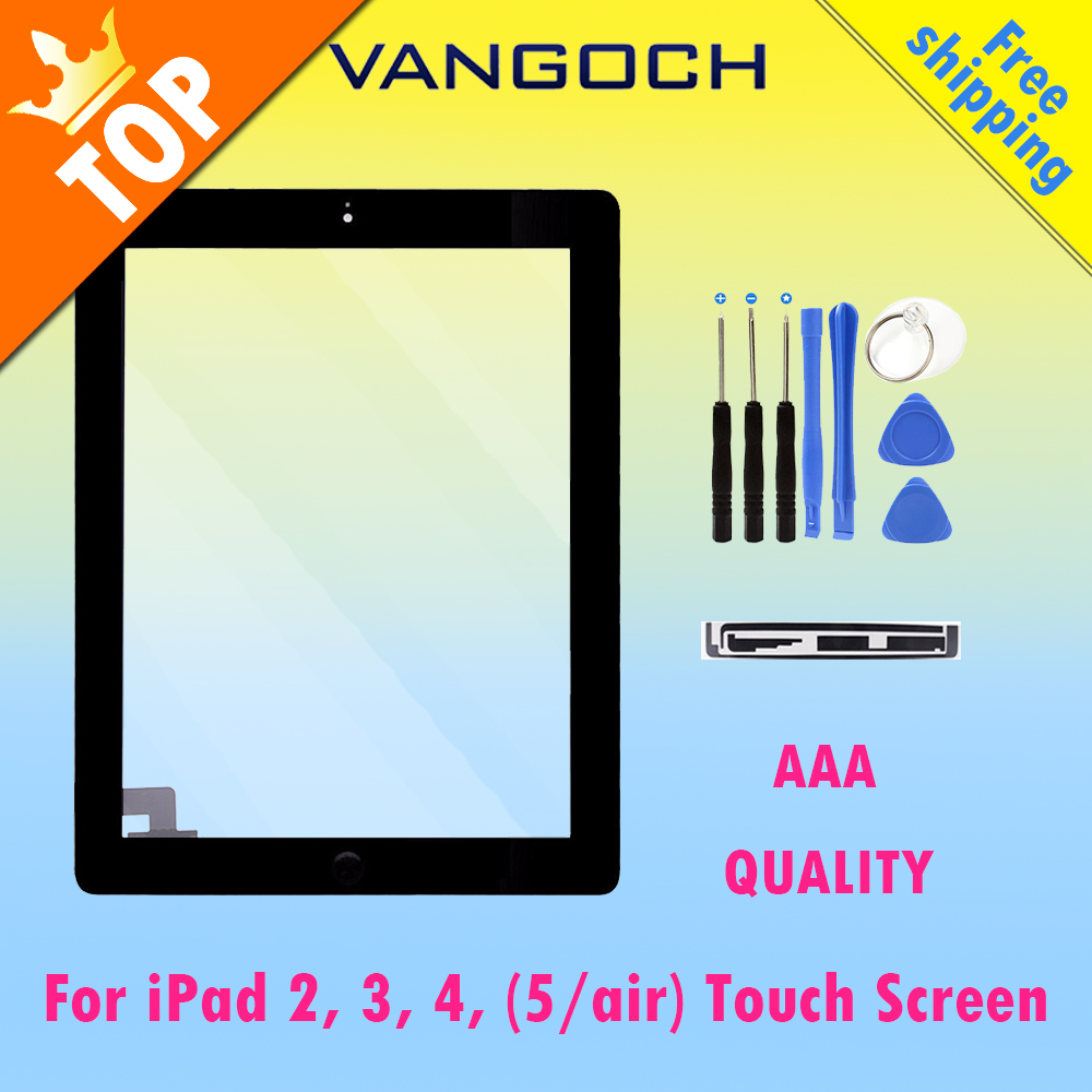 A+ Original For iPad 2 3 4 5 air white/black Digitizer Touch Screen Front Display Glass Assembly with Home Button flex and tools