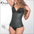 New Black Latex Corset Body Shaper Cotton Steel Boned Corset Latex Waist Cincher Sexy Corpete Corselete Shapewear -B