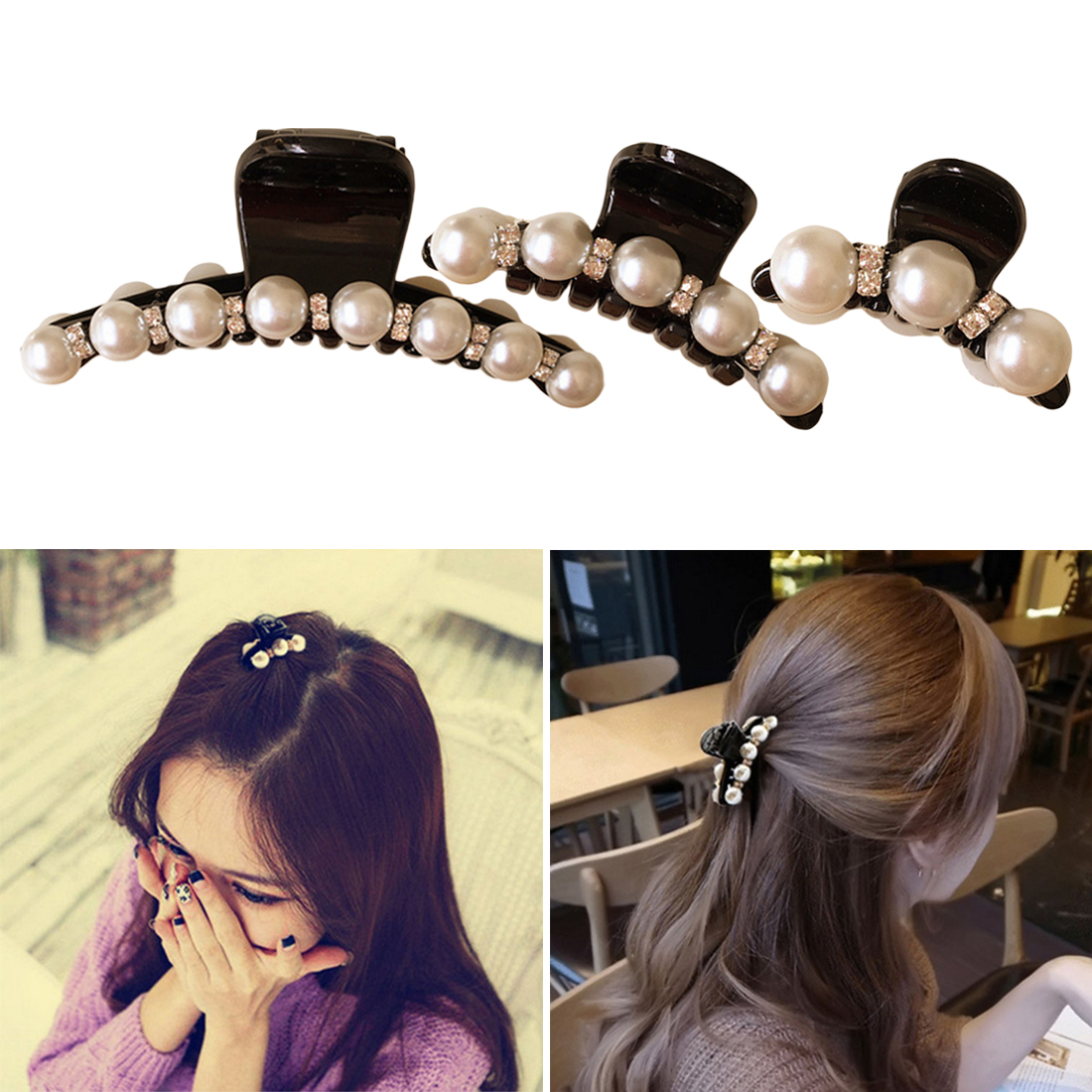 1pc Hair Clips Claw Simulated Pearls Hairpins Jewelry Banana Clips Headwear Accessories Women Hairgrips Ponytail Braider 100% Guarantee Styling Tools