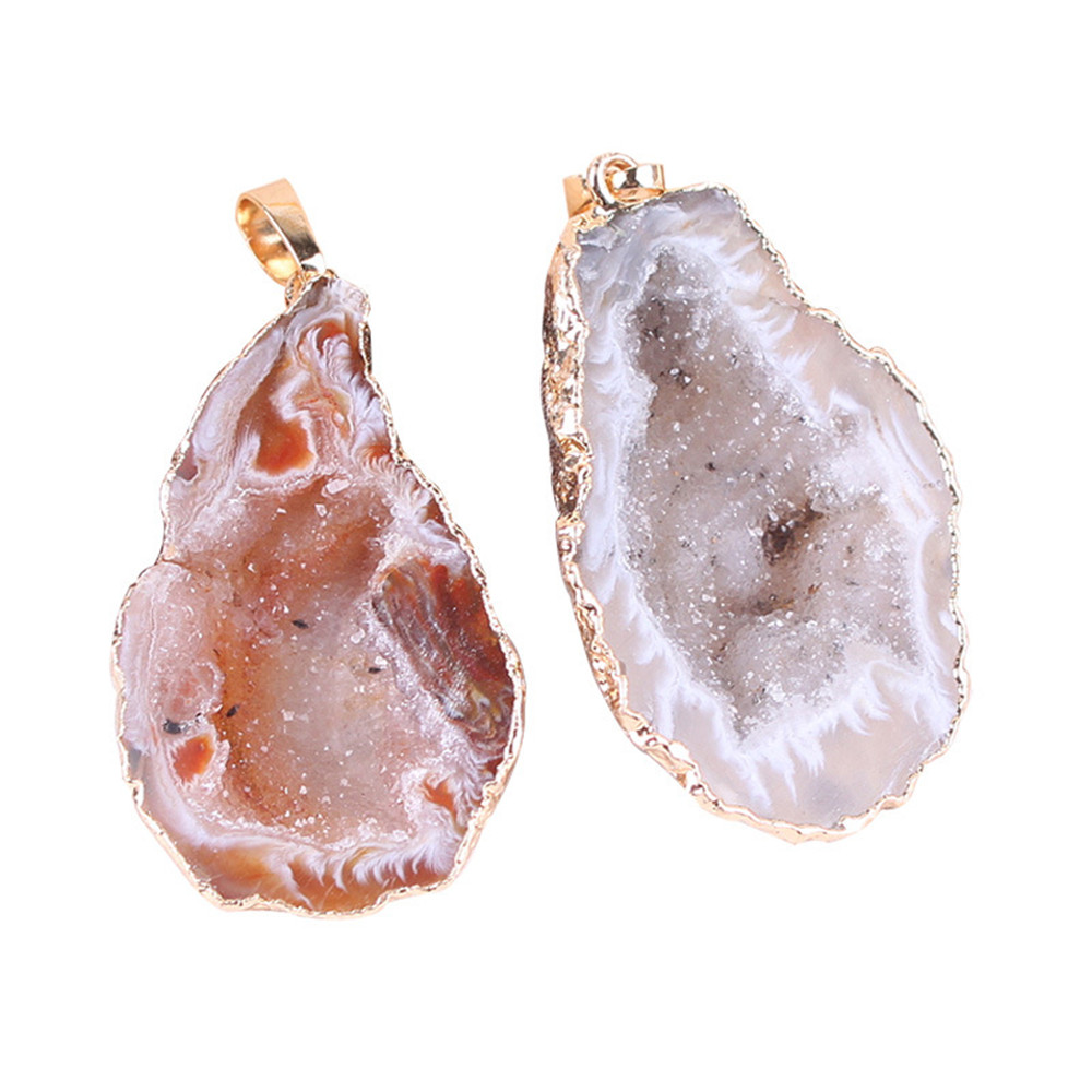 1pc Natural Crystal Agates Stone Pendants Female Necklace Personality Sweater Chain Accessories