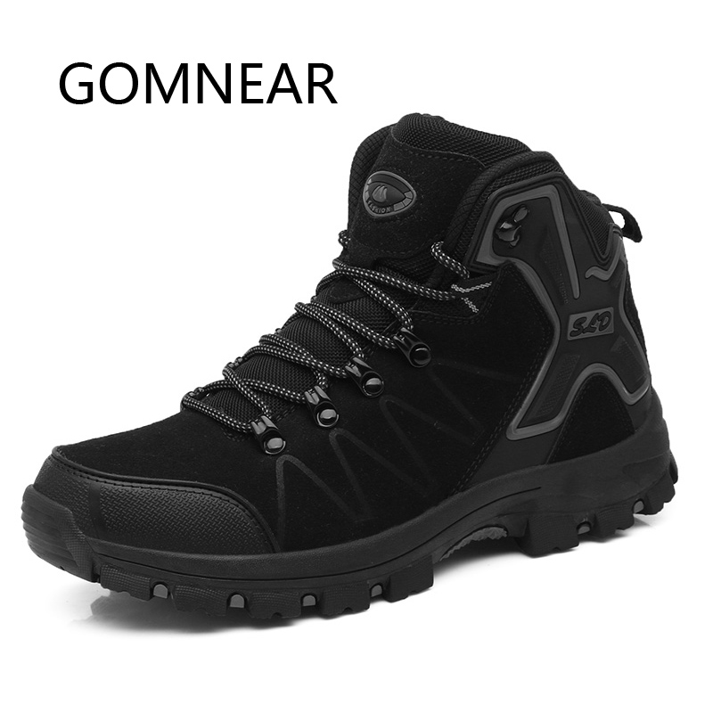 GOMNEAR Men Women Outdoor Hiking Shoes Black Comfortable Camping Trekking Shoes Anti-skid Hiking Boots Sports Sneakers Brand цена