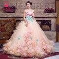 Розовое облако раффлед талия вышивка бальное платье средневековый принцесса Средневековый Ренессанс Платье королевы Костюм Викторианской Belle бал