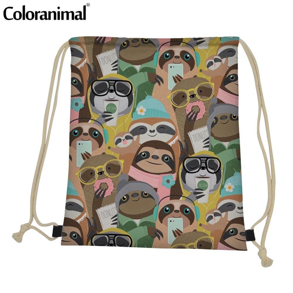 Coloranimal Cartoon Sloth Sack Bag For Men Women 3D Cute Animal Print Drawstring Bag Yoga Shoe String Mini Shoulder Bag Backpack