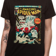 9addd257 Amazing Spiderman Comic Poster Official Marvel Black Mens T-shirt Brand  Cotton Men Clothing Male Slim Fit T Shirt