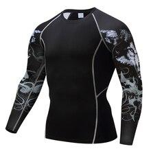 Compresión Camisas 3D Lobo Adolescente Camisetas de Manga Larga T Shirt Los Hombres de la aptitud lycra apretado de la piel capa Base tops peso lifing camisa