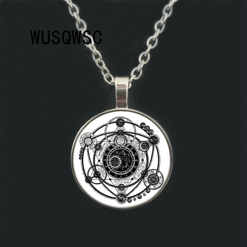 Necklace for Men Sigil Magic WICCA Pendant Choker Statement Silver Necklace For Women Dress Accessories Glass Cabochon Pendants Jewelry