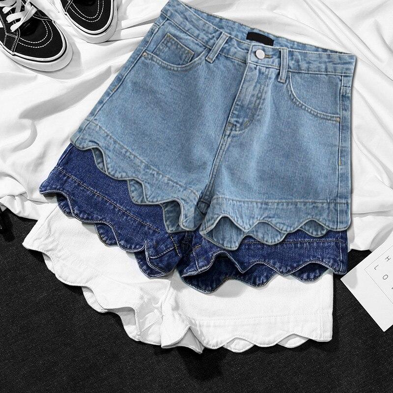 High Waist Denim Shorts Female Summer Short Jeans Women Shorts Pantalon Corto Mujer Hotpants Beach White Wide Leg Shorts C4393