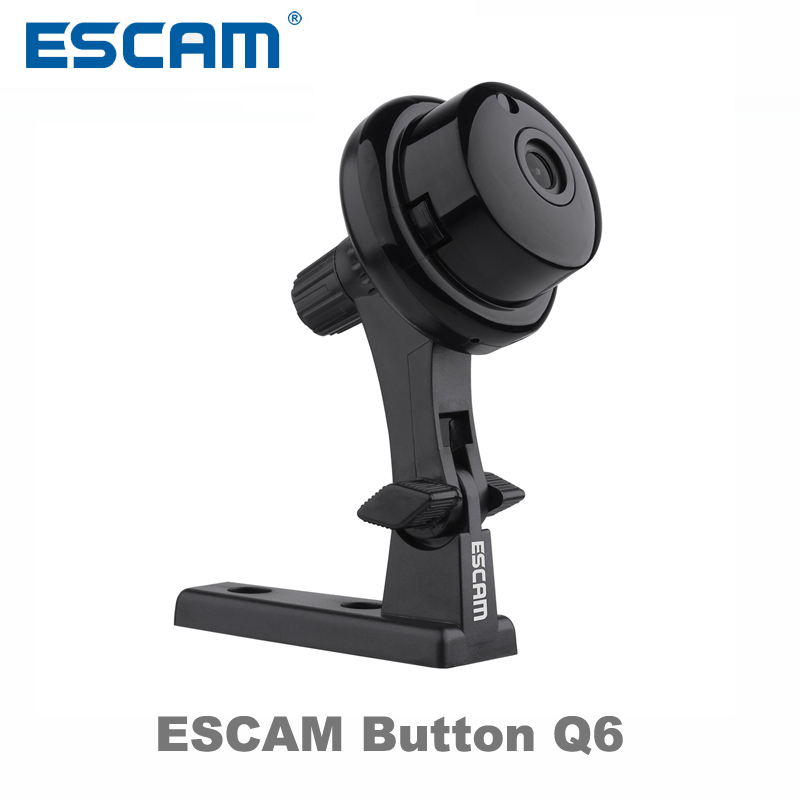 Escam Button Q6 1MP HD 720P Mini WIFI IP Camera Indoor Infrared Day/Night Vision Onvif Support Motion Detection Max 128GB Card escam wifi alarm system 433mhz 1527 motion detection ip camera hd 720p
