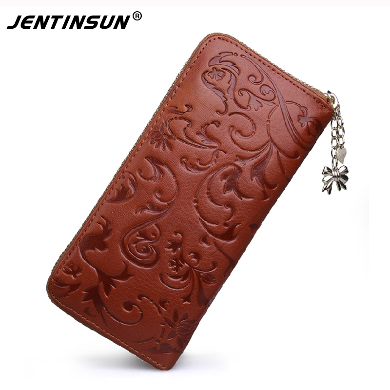 Long Clutch Genuine Leather Wallet Women Zipper Around Purse Flower pattern Lady Wallets Card Holder Money Bags nawo real genuine leather women wallets brand designer high quality 2017 coin card holder zipper long lady wallet purse clutch