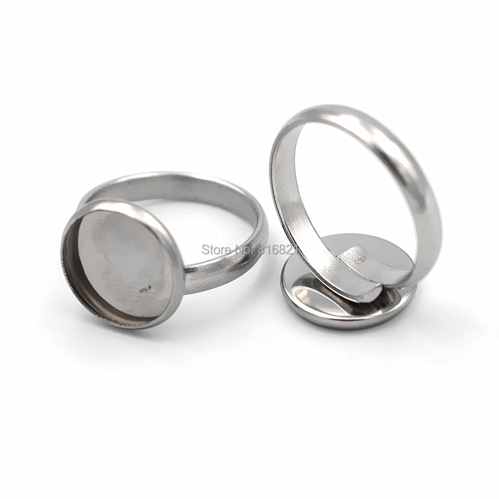 Glass Cameo Cabochons Stainless Steel Ring Findings 10mm