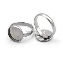 Стеклянные камео кабошоны из нержавеющей стали, фурнитура для колец от 10 мм до 25 мм, Круглые Гладкие ободки, кольца, настройки, пустые поделки, не линяют