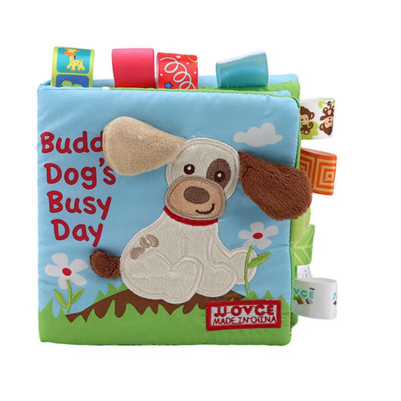 Animal estilo Mono/búho/perro recién nacido juguetes de bebé aprendizaje educativo niños libros de tela lindo bebé tela libro Ratteles juguete