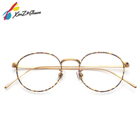 XINZE Fashion Titanium Aviation Gold Clear Lens Glasses Frame Women Retro Eye glasses Frames for Prescription Men Eyeglasses