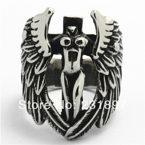 Fashion Mens Finger Rings 316L Stainless Steel Sex Body Free Angel Wing Jesus Cross Party Ring New Gift Punk