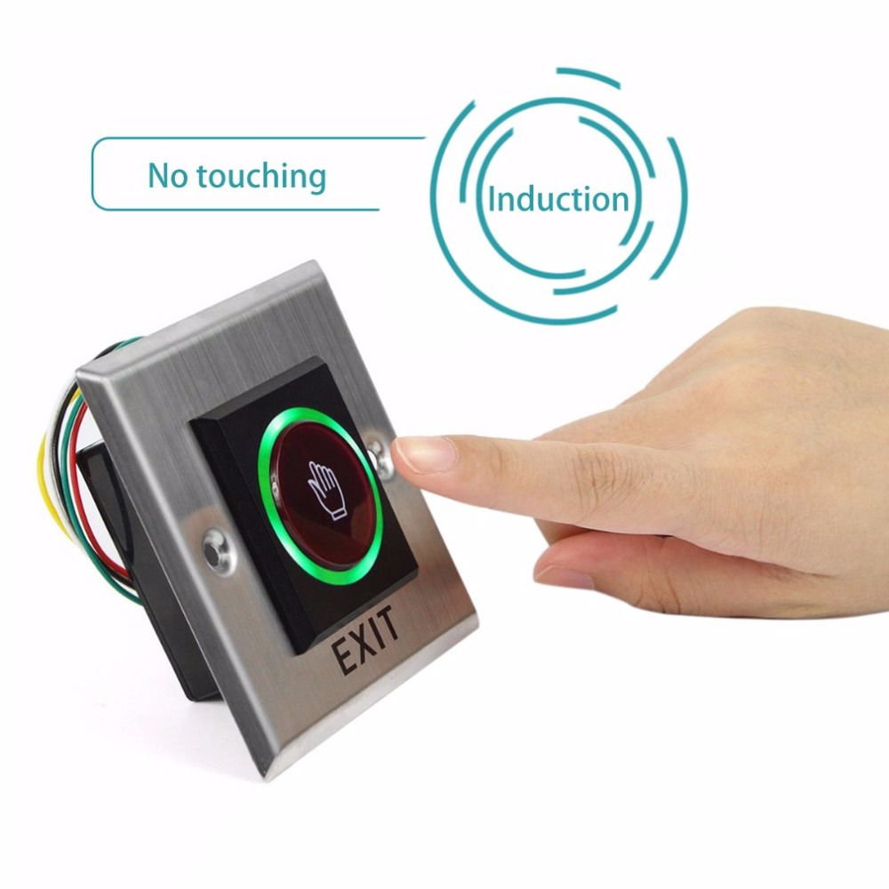 No Touch Sensor Exit Button Switch Induction Type Inductive Exit Release Button Switch Access Control DC12V With LED Indicator