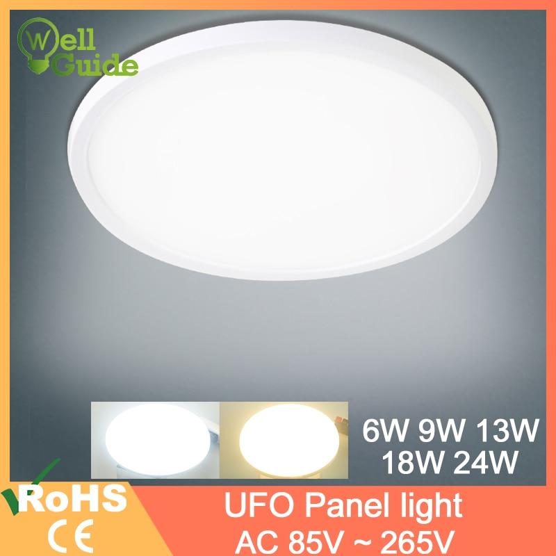 A luz de teto 24 w 18 w 13 w 9 w 6 w conduziu a lâmpada de painel para baixo a superfície clara montada ac 85-265 v lâmpada moderna para a iluminação de teto conduzida em casa