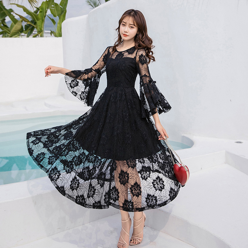 ladies lace long dress pinched waist party dress longos vestidos plus size flare sleeve cultivating bridemaid