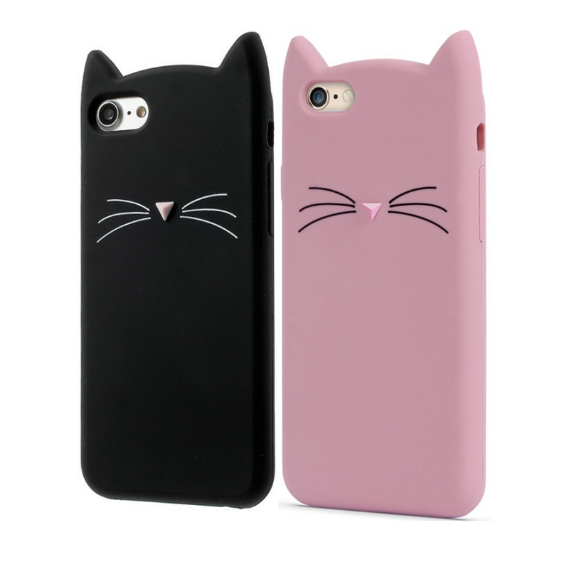 best service fe3c2 68ab9 US $1.77 20% OFF|For Iphone7 Case Cute 3D Cartoon Glitter Beard Cat Soft  Silicone Phone Case For iphone 5S 6 7 Rubber Coque Back Cover Black Pink-in  ...