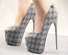 2016 fish head heels 16cm fine with waterproof ultra sexy nightclub with single shoes sandals shoes