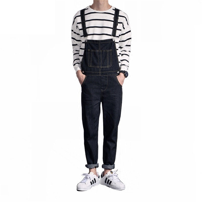 2019 New Mens Distressed Jeans Ripped Jumpsuit Denim Overalls Men Cargo Pants With Suspenders Denim Bib Overalls For Men
