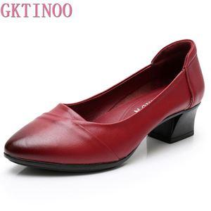 Image 1 - GKTINOO Primavera 2019 Senhoras Moda Apontado Toe Mulheres Bombas Meados Saltos Conforto Profissional Trabalhar Sapatos de Couro Genuíno Mulher