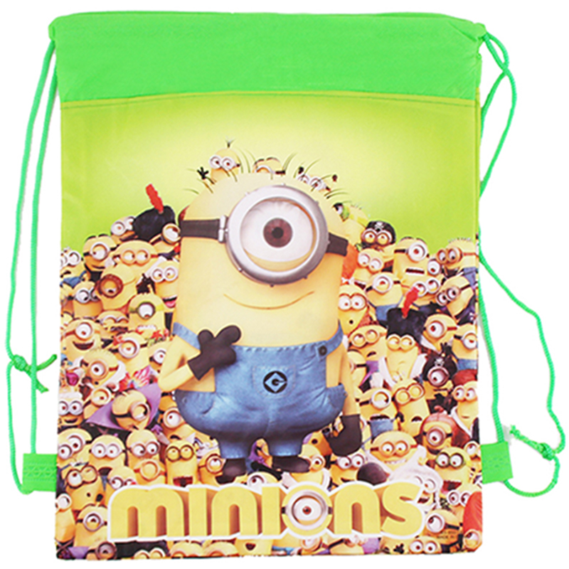 Minion Bags Children School Bags For Girls Boys Cute Cartoon Kids Drawstring Backpack Two Side Gifts Back To School BY0056