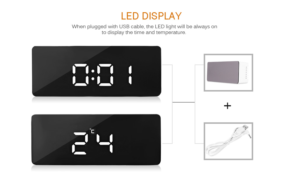 LED Alarm Clock Digital Electronic LED Mirror Clock Multifunction Temperature Snooze Large Display Home Decor Despertador Reveil 11