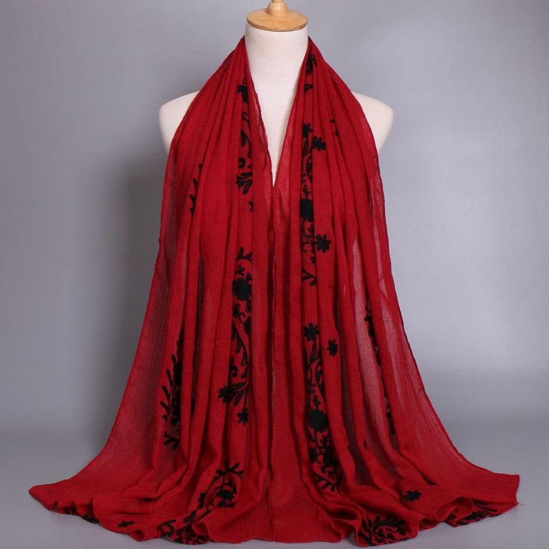 Women LIC Voile Cotton   Scarf   Embroider Women Silk   Scarf   Popular   Scarves     Wrap   Shawl Female Headhand Bandana