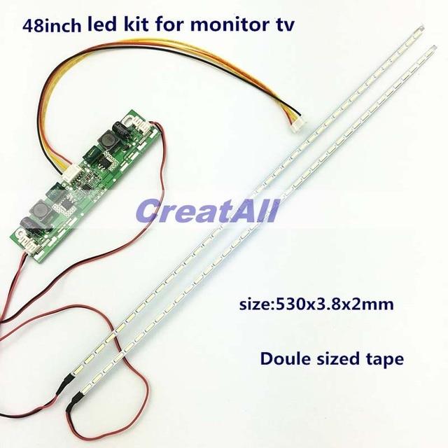 48inch 7020 LED Aluminum Plate Strip Backlight Lamps Update Kit for LCD Monitor TV Panel 2 LED Strips 530mm