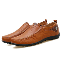 New 2019 Casual Men Shoes Slip On Loafers Spring and Autumn Mens Moccasins Genuine Leather Men's Flats Shoes Big Size 35-47