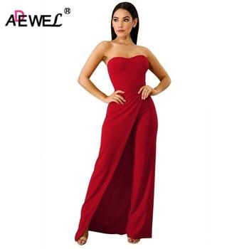 ADEWEL 2019 Sexy Off Shoulder Long Jumpsuit Women Asymmetric Split Wide Leg Strapless Elegant Party Romper Overalls