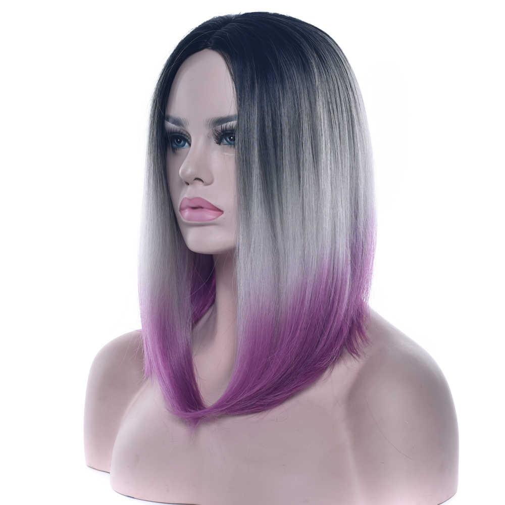 Soowee 12 Colors Synthetic Hair Black To Gray Purple Ombre Hair Short Bob Wigs For Women Straight Hair Headwear Cosplay Wig