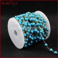BOROSA 5 Meters Gold Color Or Silver Color Round Blue How Lite Stone Beaded Chains Necklace