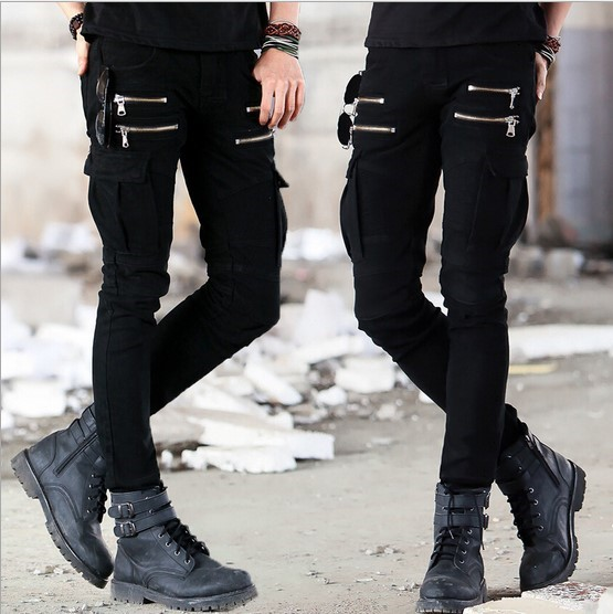 Herren Skinny Zipper Biker Jeans mit Multi Pocket Cargo Denim Pants - Herrenbekleidung - Foto 3