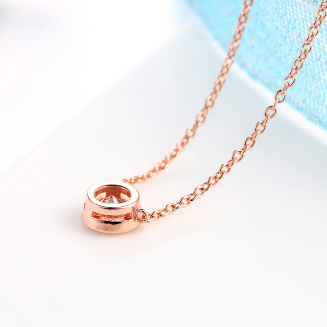 Small Round 1 carat Cubic Zirconia Rose Gold Pendant Necklace  5