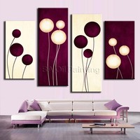 HandPainted 4 Pcs/Set Wall Art Office Decoration Abstract Oil Painting Paint Paintings Calligraphy Plum Cream Abstract Circles
