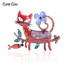 Cring CoCo Cute Cartoon Cat Shape Enamel Brooch Lovely Animal Colorful Collar Lapel Pin Fashion Jewelry Clothing Accessories