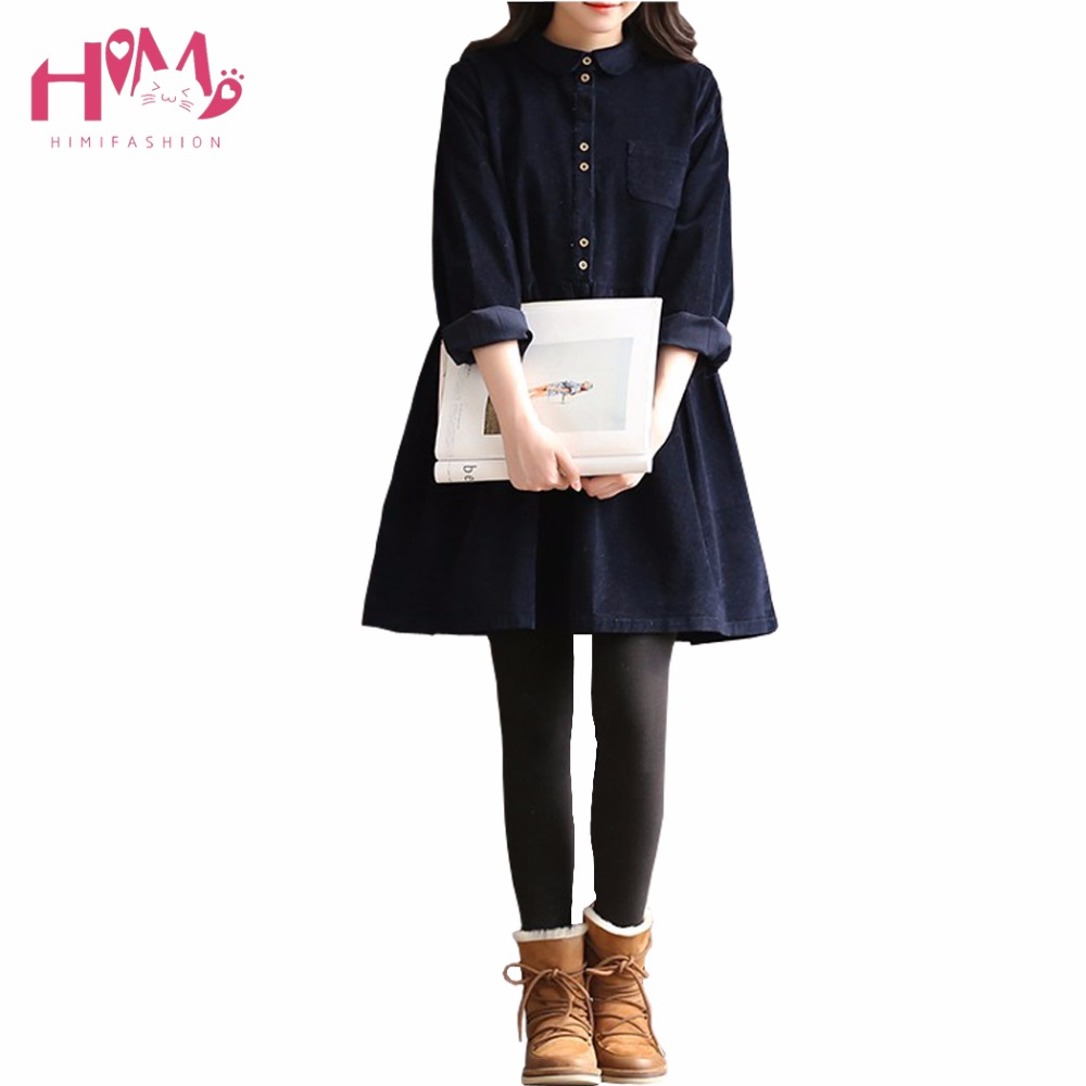 2017 Spring Slim Preppy Style Casual Women Thick Dress Wine Red Corduroy Solid Vintage Button Decoration Mori Girl Pleated Dress
