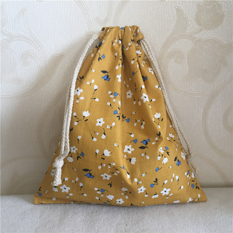YILE Cotton Twill Drawstring Travel Organizer Bag Party Gift Bag Print Mini Flower Yellow 8705C