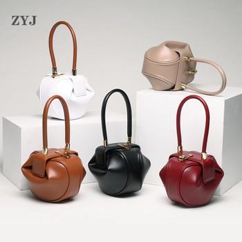 ZYJ Female Vintage Real Leather Shoulder Tote Bags Hobos Ball Girls Women Casual Handbag Popular Circular Hand Tote Bag