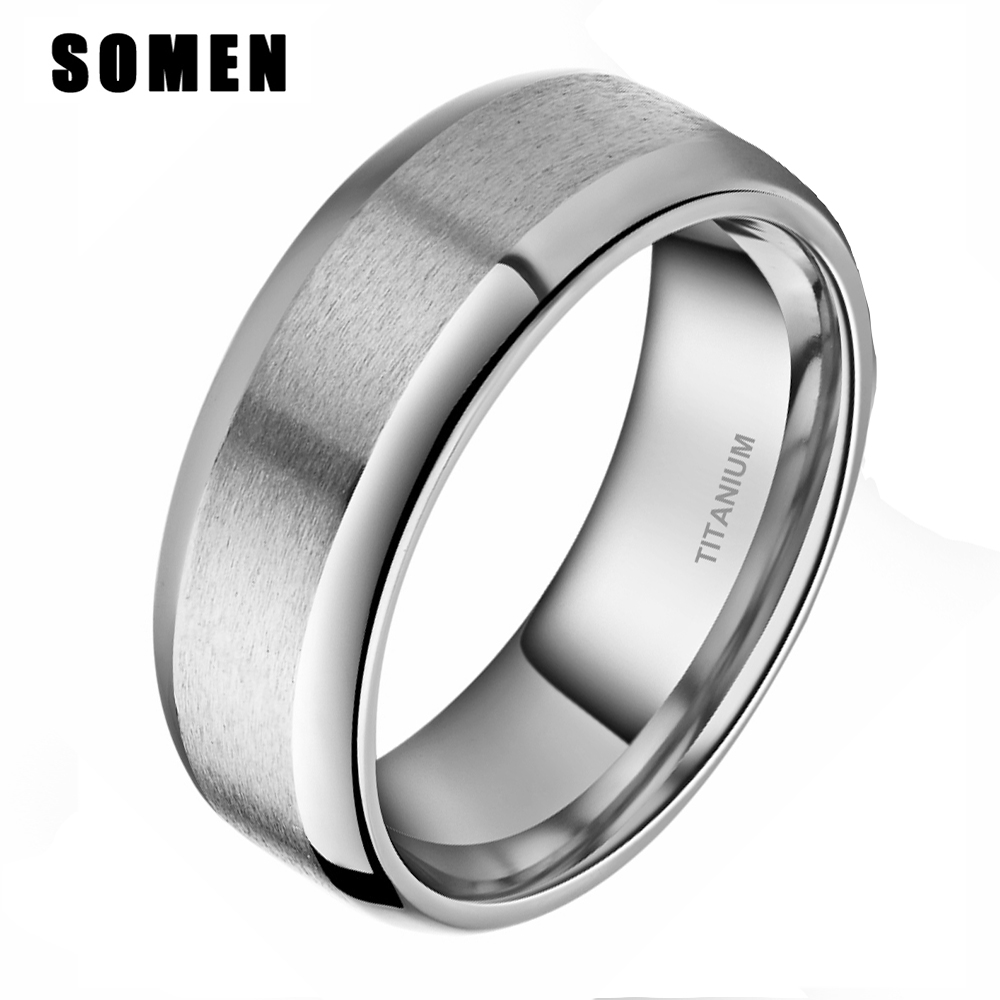 Simple Design 8mm Mens Brushed Classic Silver Titanium Ring Male Wedding Bands Engagement Ring Polished Edges Marriage Jewelry