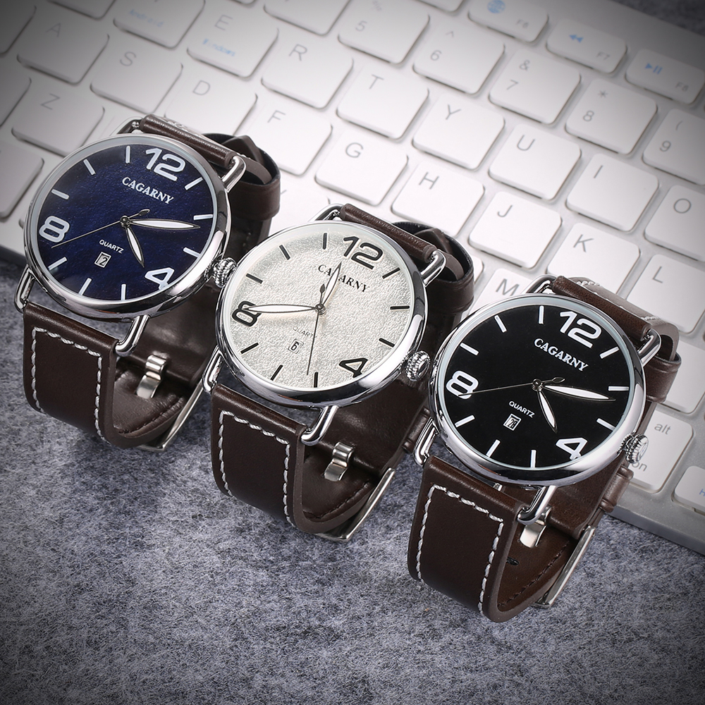 classic design high quality quartz watch men japaness movement genuine leather strap mens watches drop shipping (12)