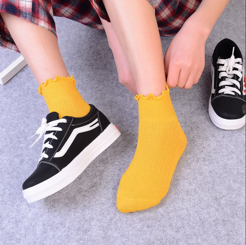2019 New Crimping Solid Color Cotton Socks Female Summer Short Socks Slippers Women Casual Soft Socks
