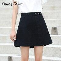 FlyingTown Short Denim Skirt Black Pink White Women A Line Cute Mini Jeans Skirt Female Lady