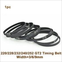 POWGE 220/228/232/240/244/250/252 2GT зубчатый ремень W = 3/6/9/15mm252-GT2 250-GT2 220-GT2 232-GT2 замкнутому циклу синхронный ремень